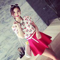 小银子2015夏装新款趣味樱桃露肩荷叶袖雪纺上衣X4309