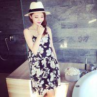 小银子2015夏装新款气质清凉度假花朵吊带雪纺连衣裙CJ