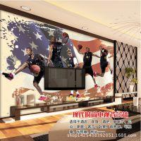 3d电视背景墙壁纸 怀旧复古美国NBA篮球扣篮装修效果图定制墙纸