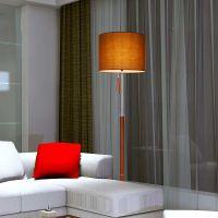 简约现代铁艺布艺皮革时尚落地灯客厅卧室餐厅拉线开关灯具F1402
