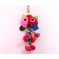 泰国小猫布艺钥匙扣包挂 民族风动物挂件挂饰 手工毛球挂件