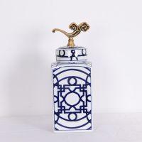 厂家直销 陶瓷罐 吉祥青花方形罐大号软装配饰工艺品 青花陶瓷罐