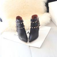2014秋冬新款全真皮头层牛皮短靴订做金属铆钉皮带扣女靴