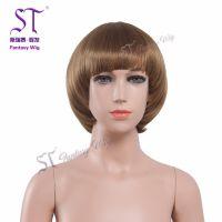 厂家直销儿童假发 可爱小孩子圆脸短发假发 棕色蘑菇头短发直发
