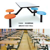 东莞专业生产【四人位餐桌椅】 直销整洁美观玻璃钢连体餐桌椅