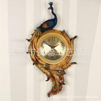 厂家直销树脂工艺高档家居装饰品欧式创意精美富贵孔雀时钟挂件