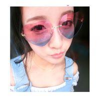 经典大牌爱心形反光渐变色太阳镜女 韩版可爱桃心墨镜彩色眼镜