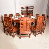 河南红木家具厂-亿诺红木家具厂-餐厅家具-象头圆餐台