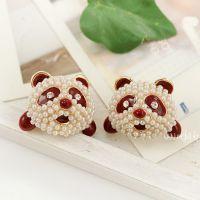 K041韩版饰品 时尚超闪满钻可爱熊猫头耳钉 耳环 耳饰 女 批发