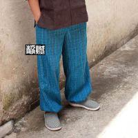 批发原创手工扎染纯棉手织布条纹收脚系带瑜伽直筒长裤