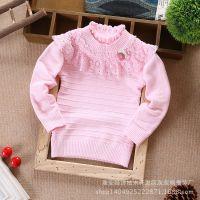 外贸童装 女童 韩版可爱草莓全棉加厚羊毛儿童针织衫 小童打底衫