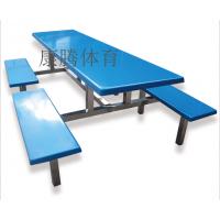 学校食堂餐桌椅安装 汕头餐厅家具设计 彩色桌椅8人位组合批发康腾体育