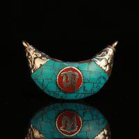 厂家热销尼泊尔首饰品 藏传镶绿松石砗磲吊坠纯铜包边民族风项坠