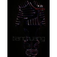 全彩光纤发光连体舞衣 舞台表演发光连体服装 美国达人秀发光服装
