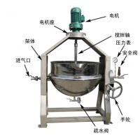 枣泥搅拌夹层锅, 酱料熬制锅,调理食品熬制锅