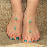 欧美外贸热销 夏季新款百搭脚饰 2颗松石简单 简约连指脚链