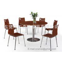 圆形防火板餐桌 餐饮连锁店家具 防火板曲木椅(T555#)
