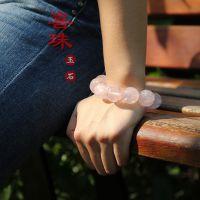 喜珠玉石粉晶手链18mm珠水晶桃花石芙蓉石招桃花旺夫转运大气款