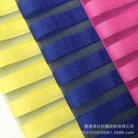 厂家直销服装面料 供应韩版染色平纹1.5cm条子条纹透明布料面料