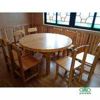 圆形实木餐桌 连锁餐厅快餐台 私房菜家具桌椅 运达来供应