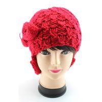 外贸出口纯色钻饰潮女帽针织毛线帽 套头红花朵冬季帽子女士毛线