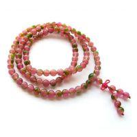 供应阿富汗天然西瓜玉髓108颗佛珠手链 似西瓜水晶 天然水晶 女