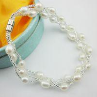 展销会热销饰品货源 三股米型淡水珍珠手链