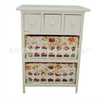 厂家直供白色三层印花木制床头柜 定做实木柳编碎花田园收纳柜