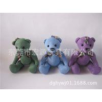 厂家定做坐姿小熊挂件 坐姿戴领结的熊玩具 毛绒熊仔来图来样生产