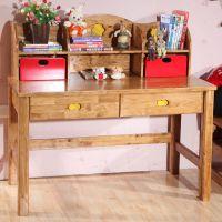 咖啡色实木书桌 儿童写字桌 特价包邮儿童家具 宏友木家具批发