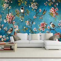 景灿大型3D无缝手绘中式花鸟工笔画壁纸 5D蓝色古典复古油画无纺布壁画 客厅卧室电视沙发背景背景墙纸