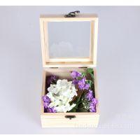 花木盒子批发 木质包装盒 玻璃盖首饰盒收纳盒 玫瑰花木盒 可定做