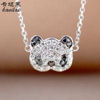 明星同款18K白金镶钻熊猫锁骨链 可爱时尚淘宝热卖个性项链定制