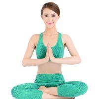 新款瑜伽服背心短裤健身套装素色女显瘦