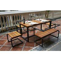 海德利厂家定制 美式乡村铁艺实木餐桌 复古简约餐桌 批发