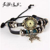 多丽觅芳 速卖通热销 时尚手工编织复古蝴蝶手表 女士手表 现货