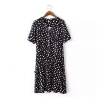 【6.6下架】G0407L1韩版新款 立领短袖人棉印花连衣裙 女式