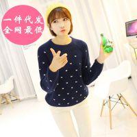 秋季女装新款韩版毛衣针织衫套头圆领长袖打底衫手工蝴蝶刺绣外套
