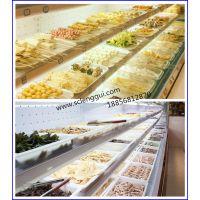 自助烤肉店菜品展示柜 饮料啤酒冷藏展示柜 开放式菜品保鲜柜