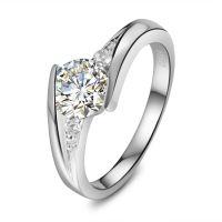 定制 18K金钻石戒指扭臂显钻戒指夹镶结婚戒指 厂家批发定制