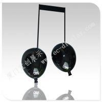 五线谱音乐气球 创意气球造型 烤漆黑色气球 气球橱窗道具 定制厂家