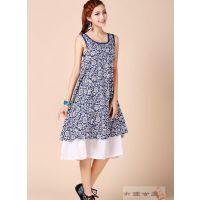 LYQ-YCY   民族风中国风原创设计棉麻印花双层背心裙连衣裙