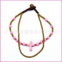 松石 十字架 流行手链批发 双链条手链 广州正品 粉色女款