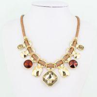 韩国明星同款 夸张彩色亚克力宝石项链项饰 速卖通 外贸批发