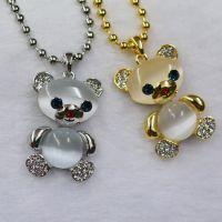 欧比雅比 情侣熊猫吊坠 微镶钻石 猫眼石 七夕表白必备礼物 批发