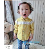 314924 新款迷果儿春款 韩版童衬衫 女童点点衬衫 双层棉纱衬衫