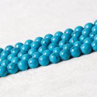 万汇 蓝松石半成品散珠子DIY饰品配件材料蓝色绿松石水晶圆珠串珠