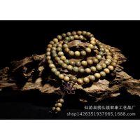 【君康】厂家直销 精品绿檀手串6mm108颗  木质佛珠手链