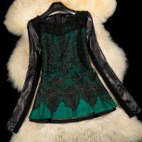 2014海宁新款真皮皮衣打底衫女绵羊皮毛呢蕾丝绣花连衣裙