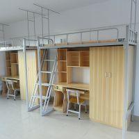 三枫学校学生连体公寓床宿舍员工连体床带柜子上下铺铁床高架床简约现代柚木色